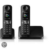 Philips D6002 - Duo DECT telefoon - Zwart