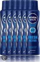 NIVEA Men Fresh Active - 150 ml - Deodorant Spray - 6 st - Voordeelverpakking
