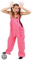 Roze tuinbroek fluor kind Maat 128
