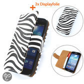 TCC Luxe Hoesje Samsung Galaxy Note 2Book Case Flip Cover N7100 - Zebra