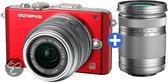 Olympus PEN E-PL3 + 14-42mm + 40-150mm  - Systeemcamera - Rood