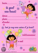 Benza blok met uitnodigingen, uitnodigingekaarten: Dora  (16 stuks)