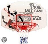 Basketbalbord met Ring en Net, Wit/Grijs/Rood, Uni