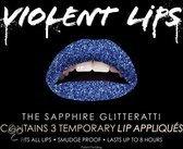 Saffier blauwe glitter lip tattoo