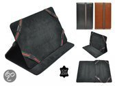 Luxe Cover voor Kurio 10s Rtl Tablet, Echt lederen Hoes, Multistand Case , Kleur Zwart