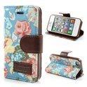 JavuCase - iPhone 4(s) - Wallet Case Hoesje Rozen Licht Blauw