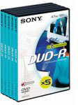 Sony DVD-R 120min/4,7GB - 5 stuks in videobox