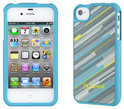 Speck Fitted Cover voor de iPhone 4S / 4 - HyperStripe Teal