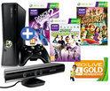 Microsoft Xbox 360 Slim 250GB + Kinect Sensor + 1 Controller + 3 Games + 1 Maand Xbox Live Gold