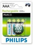 Philips R03B4A70/10 Oplaadbare batterij AAA 700 mAh 4-blister