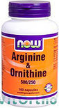 Now Arginine & Ornithine 500/250 mg Capsules 100 st