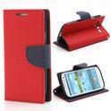 Samsung Galaxy S3 / III Mini - rood flip case portemonnee hoesje met pasjeshouder