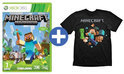 Minecraft  Xbox 360 + Minecraft T-Shirt Run Away Maat M Zwart