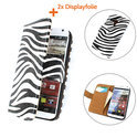 TCC Luxe Hoesje Samsung Galaxy S4 Mini Book Case Flip Cover - Zebra