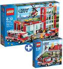 LEGO City Brandweer voordeelbundel: Brandweerkazerne 60004 + Brandalarm 60003