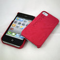 iPhone 4 hardcover Indigo-Case met leer - roze