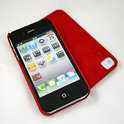 iPhone 4 hardcover Indigo-Case met leer - rood