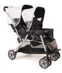 KEES - Tandem Cabrio Kinderwagen - Zilver Zwart