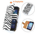 TCC Luxe Hoesje Samsung Galaxy S3 Mini Book Case Flip Cover i8190 - Zebra