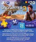 Sony PlayStation Uncharted 3 Voucher Kaart €20,- België PS3