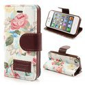 JavuCase - iPhone 4(s) - Wallet Case Hoesje Roses Wit