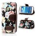 JavuCase - Samsung Galaxy S4 Mini - Wallet Case Hoesje Roses Zwart