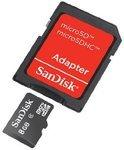 Sandisk MicroSD kaart 8 GB + fotoadapter