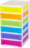 IRIS A4 Regenboog ladekast - 4 l per lade - Wit met 6 verschillende kleuren lades
