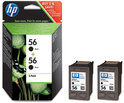 HP 56 - Inktcartridge / Zwart / 2 Pack