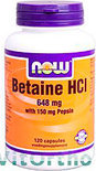 Now Betaine HCL Capsules 120 st