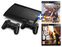 Sony PlayStation 3 500GB Super Slim + Last of Us + Uncharted 3 +  2 Wireless Dualshock 3 Controllers