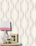 Dutch Wallcoverings Vliesbehang - Streep - Beige/Paars