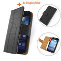 TCC Luxe Hoesje Samsung Galaxy S4 Mini Book Case Flip Cover - Croco Zwart