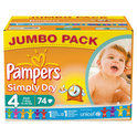 Pampers Simply Dry - Luiers Maat 4 - Jumbo box 74st