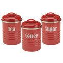 Typhoon Vintage - Set van 3 Voorraadblikken - Thee, Koffie en Suiker - Rood