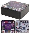 DSM Opbergbox (wonen) Set van 2 opbergblikken make-up vierkant - paars