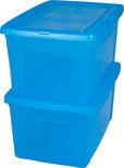 IRIS Opbergbox - 50 l - Transparant / Blauw - 2 stuks