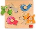 Goula Houten Puzzel - Huisdieren - 4 Stukjes