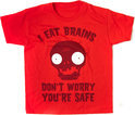 Plants vs Zombies Kinder T-shirt Rood I Eat Brains Maat 128/134