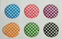 Home Button Stickers 6st kleuren ruit