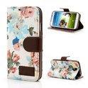 JavuCase - Samsung Galaxy S4 - Wallet Case Hoesje Roses Wit