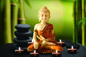 Tuinposter 6 candles and Buddha met 6 led lampjes - 40 x 60 cm
