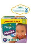 Pampers Active Fit - Luiers Maat 5+ - Jumbo Pack Junior Plus 62st