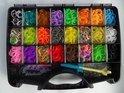 Loom Bands + opberg box medium met 25 vakjes + monster loom + haaknaald inclusief 3000 elastiekjes