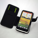 HTC One X lederen case 'booktype' PDair -  zwart