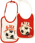 Ajax Slabbetjes 2-pack wit/rood little soccer fan