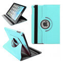 Apple iPad 5 Air Leather 360 Degree Rotating Case Cover Stand Sleep Wake Light Blue/ Licht Blauw