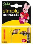 Batterijen Duracell Simply Power MN 2400 AAA: 8 stuks