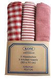 KOM Amsterdam Feston set met 3 theedoeken - 50x70 cm - rood