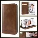 Echt Leer cover - iPhone 6 hoesje - Lederen Book Case Bruin - BookCase (Rustic Cognac)